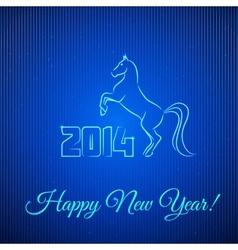 Happy New Year 2014 Illuminated Neon Horse vector image