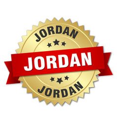 jordan round golden badge with red ribbon vector image vector image