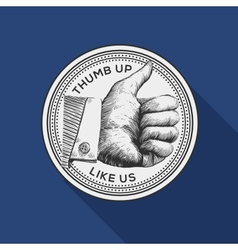 Thumb up label vintage gravure style vector image