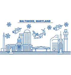 usa maryland baltimore winter city skyline vector image