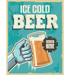Vintage banner sign - retro beer poster vector image
