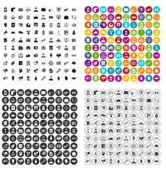 100 business partner icons set variant vector
