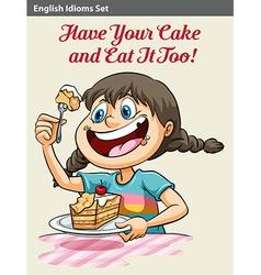 A girl eating a cake vector
