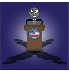 A speech on the podium unknown personality of vector image