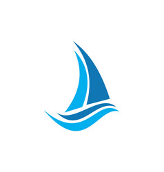abstract sailing boat logo icon vector image