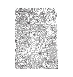 Adult coloring page spring design vector