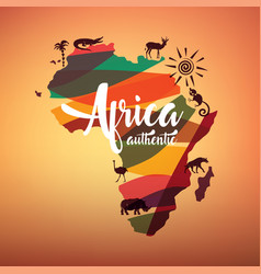 africa travel map decrative symbol of africa vector image