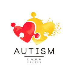 autism awareness concept with two pieces puzzle vector image