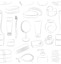 Bath Accessories pattern vector