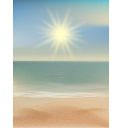 Beach and tropical sea with bright sun EPS 10 vector image