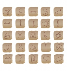 beige square web buttons set vector image