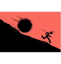 big rock or boulder rolling down on a man from vector image