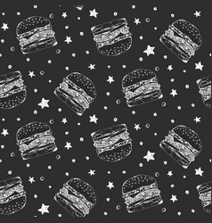 black and white pattern with sketchy burgers vector image