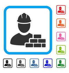 brick builder framed icon vector image