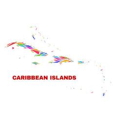 Caribbean islands map - mosaic color triangles vector