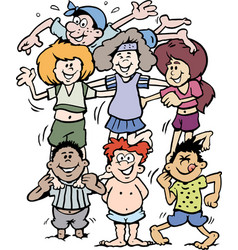 cartoon young people doing gymnastics vector image