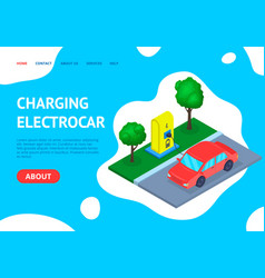Charging station car concept landing web page vector