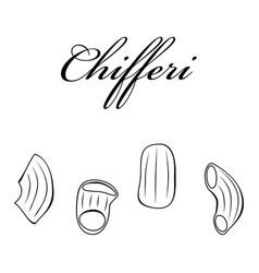 chifferi pasta authentic italian pasta hand drawn vector image