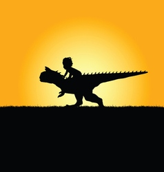 Child with dinosaur adorable in nature silhouette vector