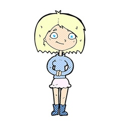 Comic cartoon happy woman vector