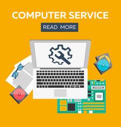 Computer service flat concepts set vector