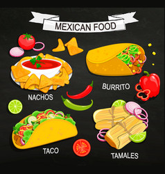concept of mexican food menu vector image
