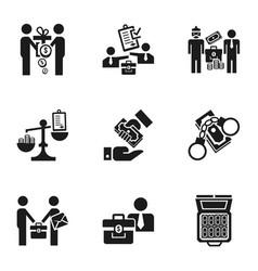 Corruption money icon set simple style vector