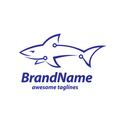 Creative tech and shark logo concept vector