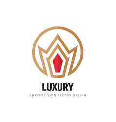 crown logo template design luxury royal concept vector image