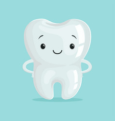 cute healthy white cartoon tooth character vector image