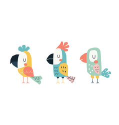 cute parrots in a childish scandinavian style vector image