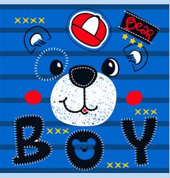 cute teddy bear boy head on striped background vector image