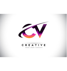 Cv c v grunge letter logo with purple vibrant vector