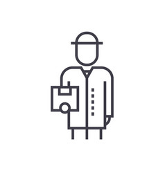 delivery man with box line icon sign vector image