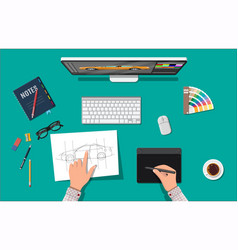 designer workplace desktop with tools vector image