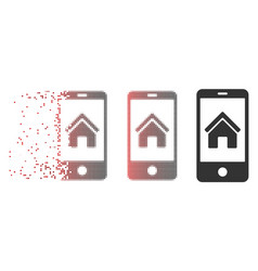 Disintegrating pixel halftone smartphone homepage vector