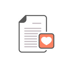 document file heart letter love page icon vector image
