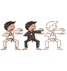 Doodle character for man doing karate vector