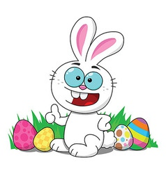Easter Bunny With Eggs Smiling vector image