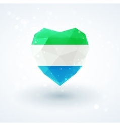 Flag of Sierra Leone in shape diamond glass heart vector