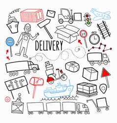 freight delivery shipping hand drawn doodle vector image