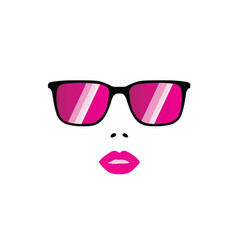 Girl face with sunglasses vector