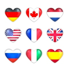 Glass Heart Flags of Countries Icon Set Isolated vector image