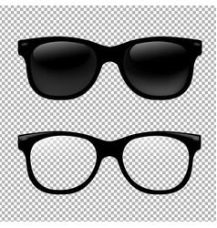 glasses set in transparent background vector image