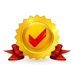 Golden emblem with check mark vector image