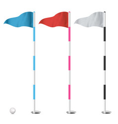 golf flags set isolated on vector image