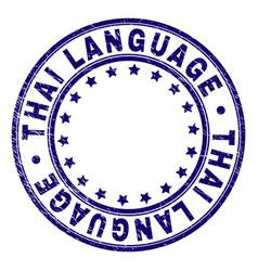 Grunge textured thai language round stamp seal vector