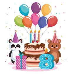 happy birthday card with bear panda and teddy vector image