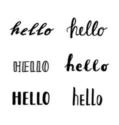 hello calligraphy lettering quotes handwritten vector image