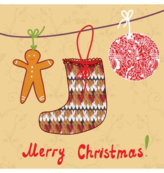 hristmas card with sock gingerbread vector image
